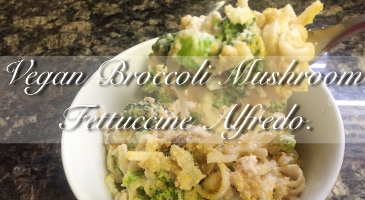 Vegan Broccoli Mushroom FettuccineAlfredo.